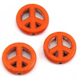 BJ346 keramiek kraal peace 15mm kleur oranje