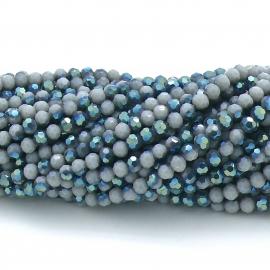 glaskraal rond facet 4mm - circa 98 kralen (BGK-001-033) kleur opal violet diamond coating