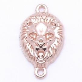DQ metaal ROSE GOUD tussenzetsel leeuwenhoofd met 2 ogen 15x25mm (B03-022-RG)