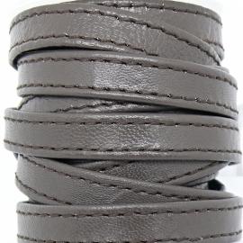 DQ platte leerband 10mm breed soft nappa leather 2-sided - dubbelgestikt - kleur bruin - 20cm