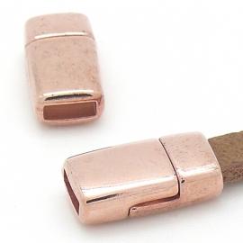 DQ metaal Rose goud magneetsluiting voor 6mm breed leer 17x9mm gat 2x6mm (B07-110-RG)
