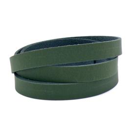 platte leerband DQ leer trend Groen -  2,1 dik - breed 15mm - lengte 1m (PL15-013)