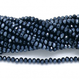 glaskraal rondel facet 3x4mm - circa 148  kralen (BGK-004-013) kleur Metalic Hematite