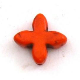 kraal keramiek keltisch kruisje 15mm gat 1mm kleur oranje (BJ804)