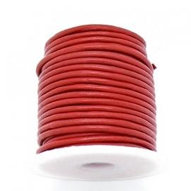 DQ rond leer 1,5mm - 1 meter - kleur RED (BRL-01-22)