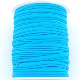 Habotai elastisch zijdekoord - kleur Deep SkyBlue - 3x5mm - lengte 2 meter (no 11)