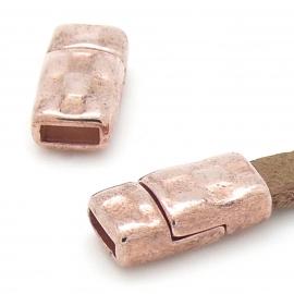 DQ metaal Rose goud magneetsluiting hamerslag voor 6mm breed leer 17x9mm gat 2x6mm (B07-111-RG)