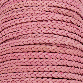 DQ plat gevlochten soft leather 6mm breed kleur vintage pink 20 cm (BPGL-06-08)