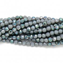 glaskraal rond facet 6mm - streng van ongeveer 100 kralen (BGK-002-026) kleur opal grey diamond coating