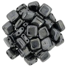 Czechmates Tile Bead maat 6mm - kleur Hematite - 25 stuks