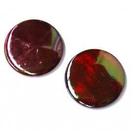 schelp kraal rond 25mm kleur parelmoer rood (BJSC023)