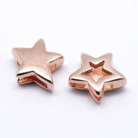 DQ metaal ROSE GOLD schuifkraal ster voor 10mm breed leer (gat 2,5x10mm) (B04-010-RG)