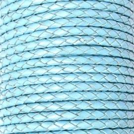 DQ 4mm rondgevlochten Goat Leather (SE/B/545 BABY BLUE) - 20cm