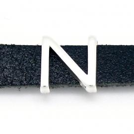 DQ metaal schuifkraal voor 10mm breed leer - letter N- maat 13x14mm - gat 2,5x10mm (B04-081-AS)