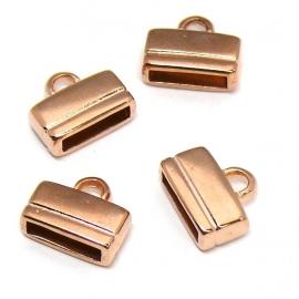 DQ metaal ROSE GOLD eindkap voor 10 mm plat leer (gat 2,5x10mm) (B06-004-RG)