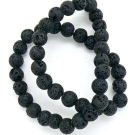 Natuursteen kralen - lava zwart - 8mm - 1 stuks (BJ8-007)