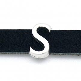 DQ metaal schuifkraal voor 10mm breed leer - letter S- maat 8x14mm - gat 2,5x10mm (B04-086-AS)