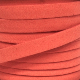 imitatie suede veter 10mm breed kleur watermeloen - 20cm