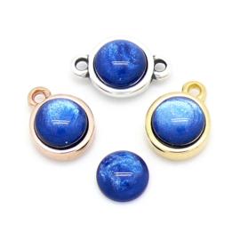 polariscabochon pearl rond 7,2/8mm - kleur dark blue pearl (CAB-07-010)