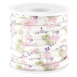 DQ eenzijdig gestikt flowercord 5/6mm - color pink violet - 20 cm (BJ-27255) LET OP: GEEN LEER!