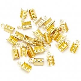 DQ metaal veterklem voor koord 2/2,5mm maat 4x9,5mm (B05-050-SG) - 4 stuks
