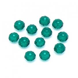 (BJG-019) glaskraal rondel facet 5x7mm kleur emerald groen