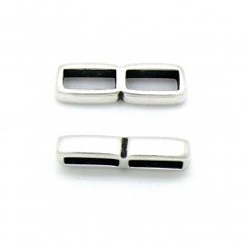 DQ metaal verdeler rechthoek 2 gaten maat 8.5x27mm (gaten 4x10mm) (B04-121-AS)