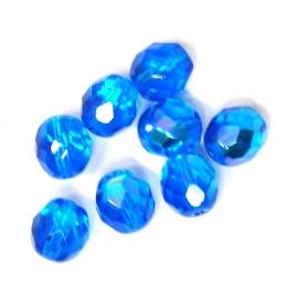 (BJBL-006) glaskraal rond facet geslepen 8mm donkerblauw AB  - 10 stuks