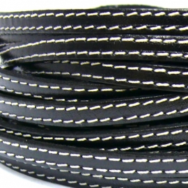leren band smal 6cm 2mm dik dubbel gestikt zwart - 20cm