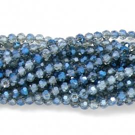 glaskraal rond facet 6mm - streng van ongeveer 100 kralen (BGK-002-014) kleur metallic transparent montana