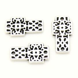 DQ metaal tussenzetsel kruis met patroon maat 8x15mm (B03-084-AS)