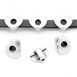 DQ metaal schuifkraal 5mm leer hart 10x13mm gat 2.5x5mm (B04-114-AS)