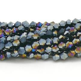 glaskraal bicone 4mm - circa 110  kralen (BGK-008-010) kleur Jet Dorado AB