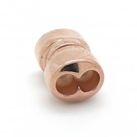 DQ metaal ROSE GOUD magneetsluiting voor 2x 5mm rond leer maat 11x18mm gat 2x5mm (B07-077-RG)