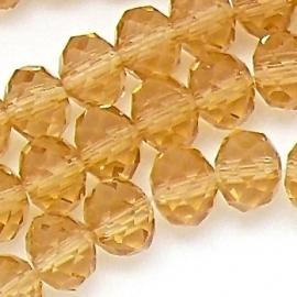 glaskraal rondel facet 6x8mm kleur champagne (BGK-006-005) - 35 stuks