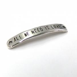 DQ metaal tussenzetsel 7x40mm `al we need is love` (B03-021-AS)