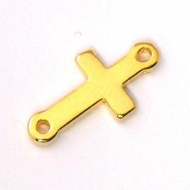 DQ metaal GOUD tussenzetsel kruis met 2 ogen, maat 8x15mm (B03-017-SG)