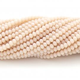 glaskraal rondel facet 3x4mm - circa 148 kralen (BGK-004-047) kleur silk milky beige