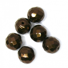 (BJBR-006) glaskraal rond facet geslepen brons/donkerbruin 12mm - 2 stuks