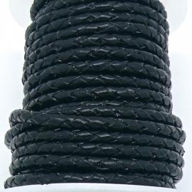 DQ 4mm rondgevlochten Buffel Leather - kleur BLACK - 20cm (BRGL-4-02)