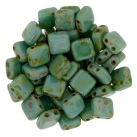 Czechmates Tile Bead maat 6mm - kleur Persian Turquoise Picasso - 25 stuks