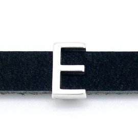 DQ metaal schuifkraal voor 10mm breed leer - letter E - maat 8x13mm - gat 2,5x10mm (B04-072-AS)