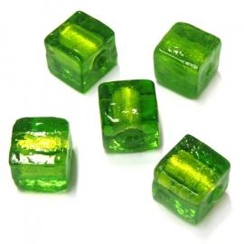 (BJG-006) glaskraal silverfoil vierkant 12mm groen - 2 stuks