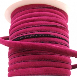 DQ eenzijdig gestikt nappaleather fabricstyle 6mm - color Fuchsia (20cm)