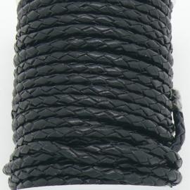 DQ 3mm rondgevlochten leer  - kleur zwart - 20cm