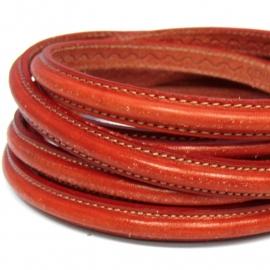 dubbel gestikt half ovaal leer met tunnelbuis 5x10mm - kleur rood - 20 cm