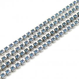 swarovski cupchain 27001 p18 setting Rhodium - kleur denim blue (prijs per 1 cm)