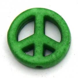 BJ386 keramiek kraal peace 15mm kleur fel groen