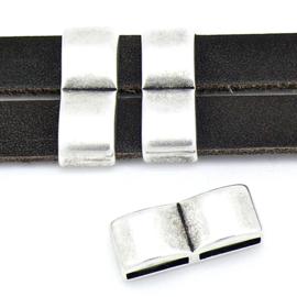 DQ metaal schuifkraal dubbel voor 10mm plat leer - maat 9.6x24mm - gaten 2,5x10mm (B04-176-AS)