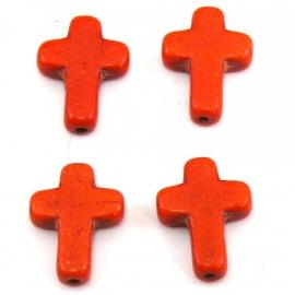 kraal keramiek kruisje 12x16mm gat 1mm kleur oranje (BJ316)